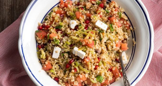Bulgur wheat salad with feta, chestnuts and pomegranate