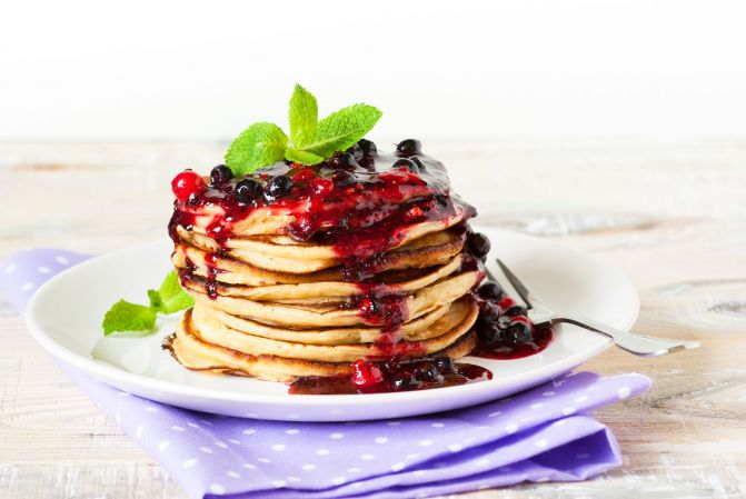 Gingerbread Pancakes with Coconut Yoghurt and Mulled Fruit Compote
