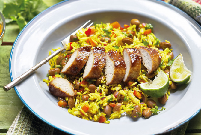 Caribbean Jerk Quorn Fillets with Rice