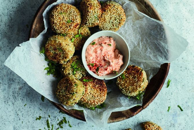 Coriander & Cashew green Falafel with Harissa Yogurt
