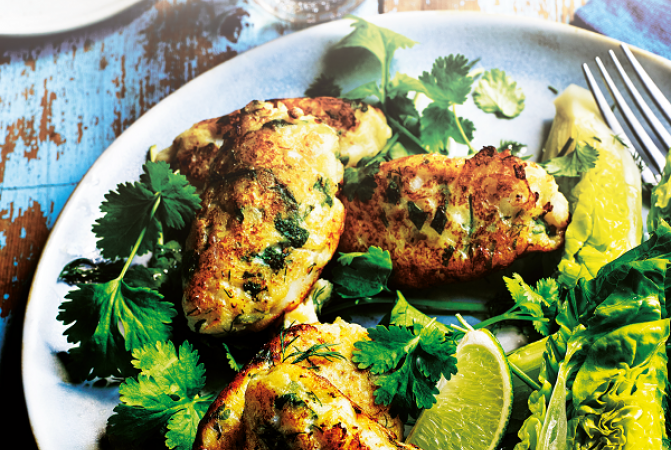 Portuguese Salt Cod Fritters with Crunchy Lime Salad