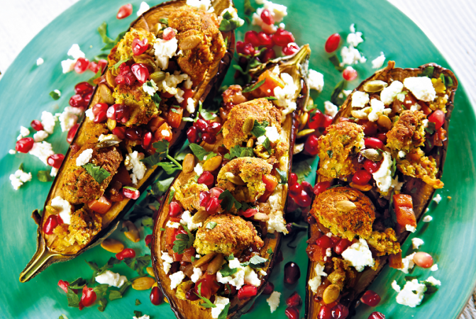 Baked Aubergine with Moroccan Falafel Crumb