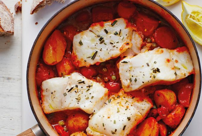One-pot Cod with Tomatoes, Peppers & Potatoes