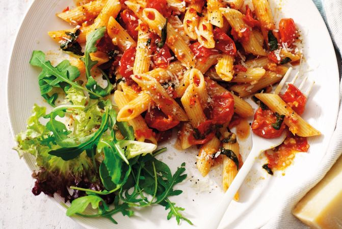 Penne Arrabiata with Cherry Tomatoes