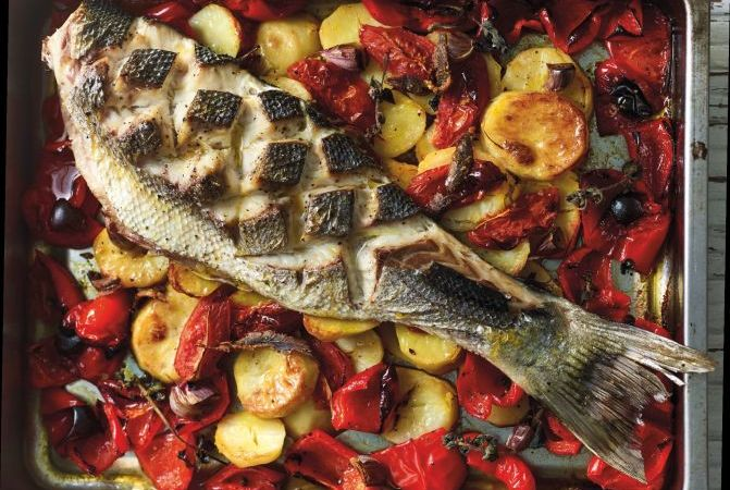 Sea Bass with Roasted Vegetables and Anchovies