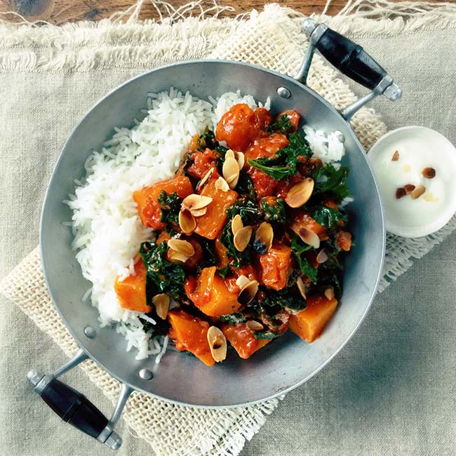 Kale and butternut squash curry