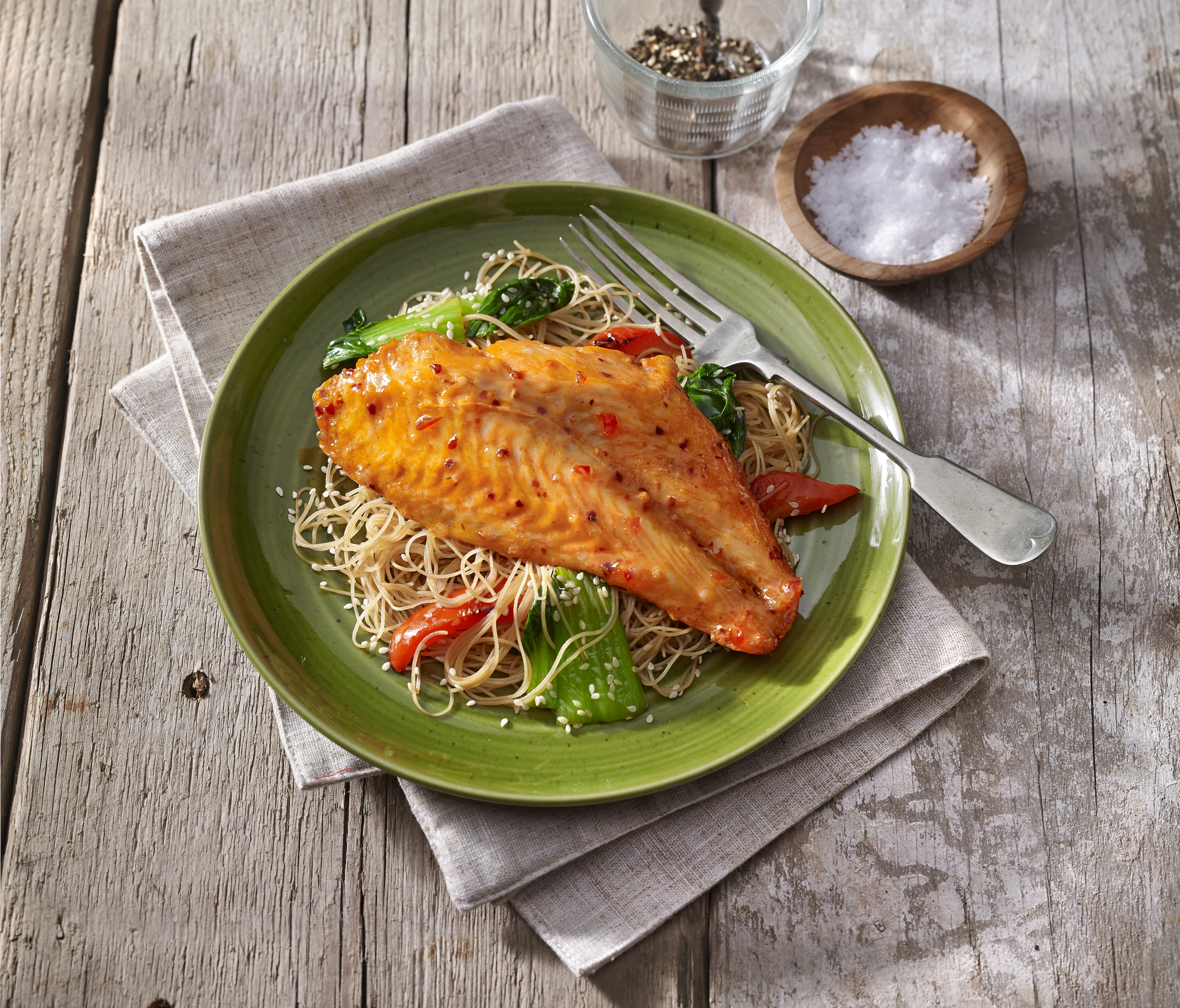 Sweet Chilli Marinated Basa Fillets with Noodles and Pak Choi