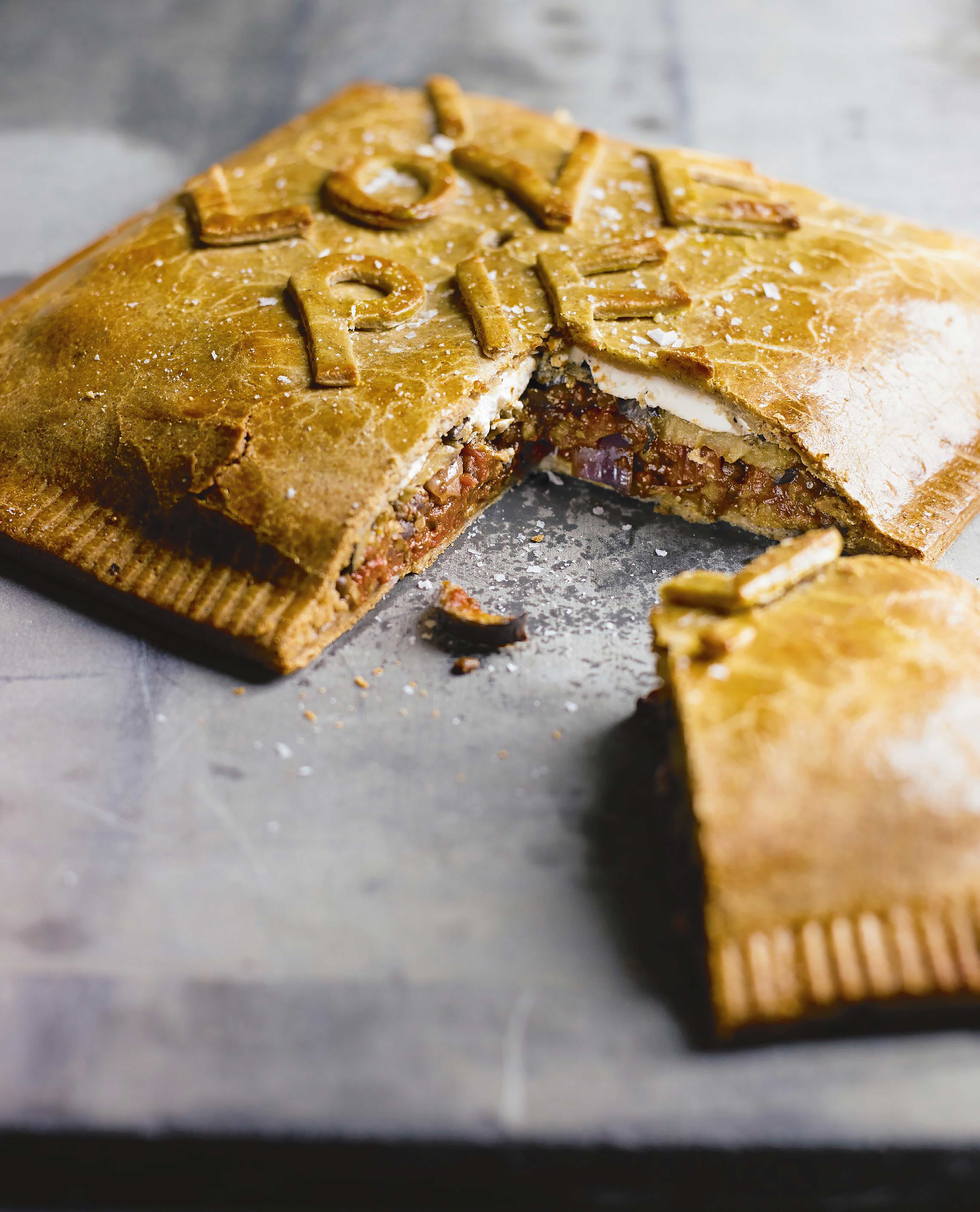 Spicy Tomato and Lentil Layer Pie
